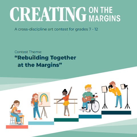 Creating on the Margins contest promotion showing illustrations of young artists
