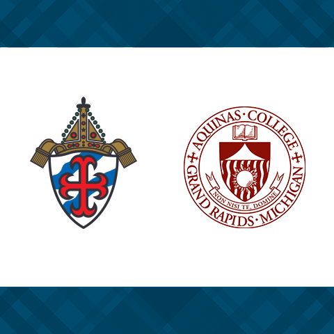 The crest of the Diocese of Grand Rapids and the seal of Aquinas College.